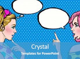 Speech powerpoint templates crystalgraphics audience pleasing presentation having pop art girls with speech backdrop and a teal colored foreground toneelgroepblik Image collections