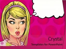Pop art powerpoint templates crystalgraphics crystal powerpoint template with pop art illustration of girl themed background and a red colored foreground toneelgroepblik Image collections