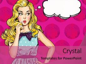 Speech powerpoint templates crystalgraphics cool new slide set having pop art illustration of girl backdrop and a coral colored foreground toneelgroepblik Choice Image