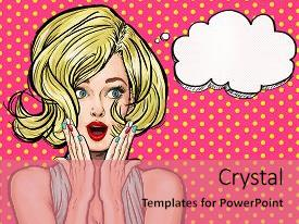 Comic powerpoint templates crystalgraphics crystal powerpoint template with comic pop art illustration surprised girl themed background and a coral toneelgroepblik Image collections