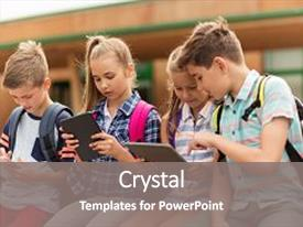 Pre primary powerpoint templates crystalgraphics audience pleasing slide set having primary education friendship childhood technology backdrop and a gray colored foreground toneelgroepblik Images