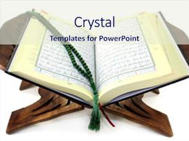 Quran powerpoint templates crystalgraphics ppt layouts having quran with quran wooden stand background and a sky blue colored foreground toneelgroepblik Choice Image