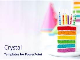Rainbow powerpoint templates crystalgraphics amazing ppt layouts having rainbow birthday cake backdrop and a sky blue colored foreground toneelgroepblik