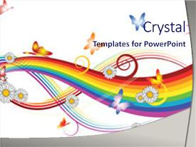 <b>Crystal</b> PowerPoint template with rainbow with flowers and colorful themed background and a sky blue colored foreground design featuring a [design description].