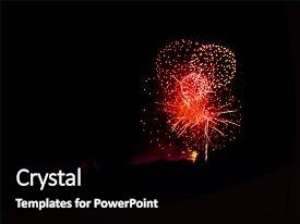 <b>Crystal</b> PowerPoint template with red circles spectacular fireworks themed background and a black colored foreground design featuring a [design description].
