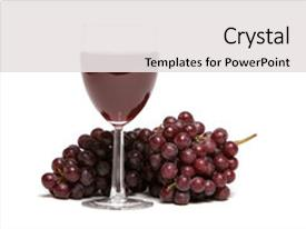 Powerpoint template wine glass with red wine and red grapes over custom template design 10000 toneelgroepblik Image collections