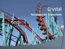 <b>Crystal</b> PowerPoint template with red roller coaster and big themed background and a ocean colored foreground design featuring a [design description].