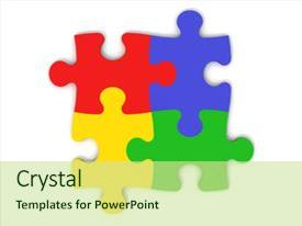 powerpoint template: glowing gradient jigsaw puzzle with one, Powerpoint templates
