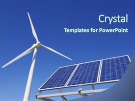 Renewable energy powerpoint templates crystalgraphics ppt featuring windmill and solar panel image and a ocean colored foreground toneelgroepblik Gallery