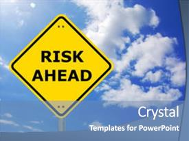 Cool new presentation with risk management concept with yellow backdrop and a teal colored foreground.