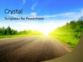 A PPT featuring road and sunny summer day image and a light blue colored foreground.