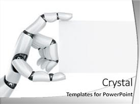 Robotic arm powerpoint templates crystalgraphics ppt featuring robotic arm 3d rendering image and a white colored foreground toneelgroepblik Gallery