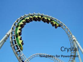 <b>Crystal</b> PowerPoint template with roller coaster on the boardwalk themed background and a light blue colored foreground design featuring a [design description].