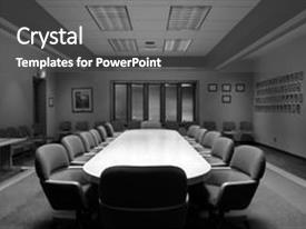 <b>Crystal</b> PowerPoint template with room in black and white themed background and a dark gray colored foreground design featuring a [design description].