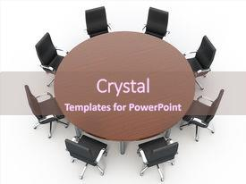 Audience pleasing presentation theme consisting of round conference table on white  backdrop and a violet colored foreground.