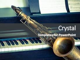 <b>Crystal</b> PowerPoint template with saxophone on piano swing jazz themed background and a dark gray colored foreground design featuring a [design description].