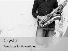 Jazz powerpoint templates crystalgraphics crystal powerpoint template with saxophone symphony musician jazz instrument themed background and a light gray colored toneelgroepblik Images