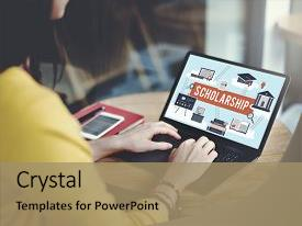 Scholarship powerpoint templates crystalgraphics crystal powerpoint template with scholarship aid college education loan themed background and a coral colored foreground toneelgroepblik Image collections