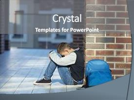 School violence powerpoint templates crystalgraphics audience pleasing ppt having school violence schoolboy crying in the hallway backdrop and a gray toneelgroepblik Gallery