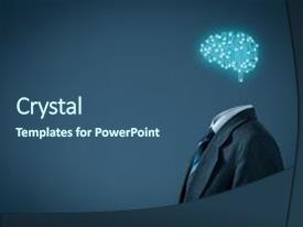 <b>Crystal</b> PowerPoint template with science - artificial intelligence ai data mining themed background and a ocean colored foreground design featuring a [design description].
