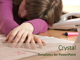 <b>Crystal</b> PowerPoint template with searching for ads and job themed background and a soft green colored foreground design featuring a [design description].
