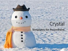 <b>Crystal</b> PowerPoint template with season greetings - cute snowman on snowy field themed background and a light gray colored foreground design featuring a [design description].