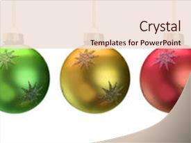 <b>Crystal</b> PowerPoint template with shiny christmas ornaments isolated themed background and a lemonade colored foreground design featuring a [design description].