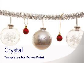 <b>Crystal</b> PowerPoint template with silver christmas ornament with decorative themed background and a sky blue colored foreground design featuring a [design description].