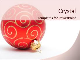 <b>Crystal</b> PowerPoint template with simple christmas ornament on white themed background and a lemonade colored foreground design featuring a [design description].
