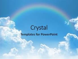 A PowerPoint with sky with a rainbow background and a light blue colored foreground.