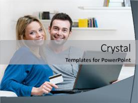 PPT layouts featuring credit card - smiling young couple making shopping background and a light gray colored foreground.