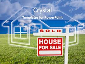 <b>Crystal</b> PowerPoint template with sold for sale real estate themed background and a teal colored foreground design featuring a [design description].