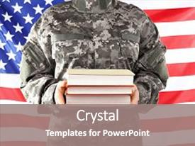 Slide set consisting of soldier holding books military education background and a gray colored foreground.