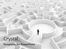 <b>Crystal</b> PowerPoint template with solution problem solving challenge themed background and a light gray colored foreground design featuring a [design description].