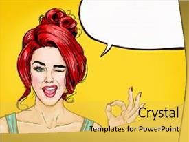 Bubble powerpoint templates crystalgraphics slide set having speech pop art backdrop and a yellow colored foreground toneelgroepblik Image collections