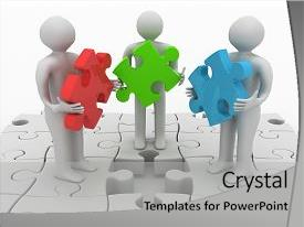 <b>Crystal</b> PowerPoint template with standing on puzzle with missing themed background and a light gray colored foreground design featuring a [design description].