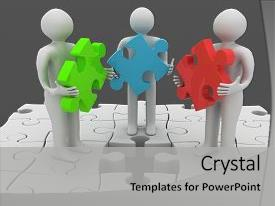 Slide deck featuring standing on puzzle with missing background and a light gray colored foreground.