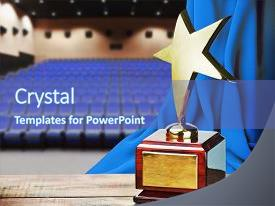 Service award powerpoint templates crystalgraphics beautiful presentation with star award for service background and a ocean colored foreground toneelgroepblik Choice Image