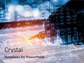 <b>Crystal</b> PowerPoint template with statistic graph of stock market themed background and a light gray colored foreground design featuring a [design description].