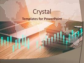 <b>Crystal</b> PowerPoint template with statistics - statistic graph of stock market themed background and a lemonade colored foreground design featuring a [design description].