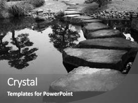 Stepping stone powerpoint templates crystalgraphics crystal powerpoint template with stepping stones bridge across themed background and a gray colored foreground design pronofoot35fo Images