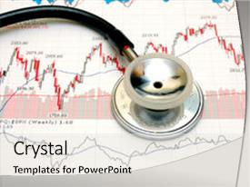 Audience pleasing PPT layouts consisting of stethoscope and stock chart - market backdrop and a light gray colored foreground.