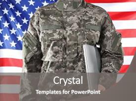 <b>Crystal</b> PowerPoint template with student discipline - soldier holding laptop military education themed background and a gray colored foreground design featuring a [design description].
