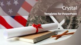 <b>Crystal</b> PowerPoint template with student veteran - notebook diploma and pencils on themed background and a gray colored foreground design featuring a [design description].