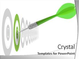 Colorful presentation theme enhanced with successful dart reaching the green backdrop and a white colored foreground.