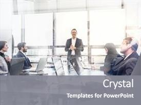 <b>Crystal</b> PowerPoint template with successful team leader and business themed background and a gray colored foreground design featuring a [design description].
