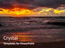 Audience pleasing presentation design consisting of sunset beautiful sunset black sea backdrop and a wine colored foreground.