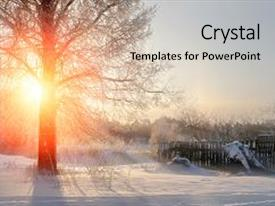 <b>Crystal</b> PowerPoint template with sunset winter landscape with nature themed background and a light gray colored foreground design featuring a [design description].