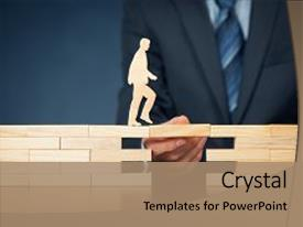 <b>Crystal</b> PowerPoint template with support help and life insurance themed background and a coral colored foreground design featuring a [design description].