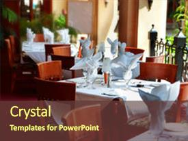 Fine dining restaurant powerpoint templates crystalgraphics beautiful template featuring fine dining tables in a nice restaurant image and a tawny brown toneelgroepblik Images